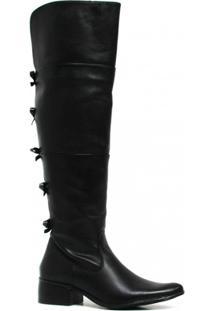 Bota Zariff Shoes Montaria Em Couro Laço Feminina - Feminino-Preto