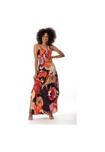 Vestido Clara Arruda Longo Estampado 50629 - 36 - Bege/Laranja Vinho