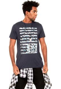 Camiseta Fiveblu Army Stripe Azul-Marinho/Verde/Bege
