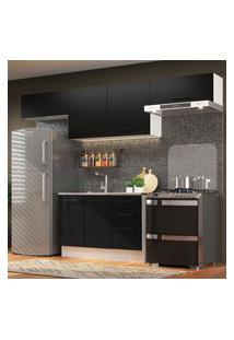 Cozinha Compacta Madesa Agata 280002 Com Armário E Balcáo - Branco/Preto Branco