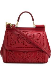 Dolce & Gabbana Bolsa Tote Sicily De Couro - Vermelho