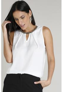 Regata Feminina Com Corrente Decote Redondo Off White