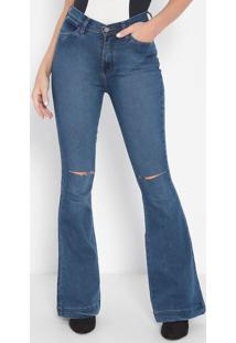 Jeans High Flare Destroyed- Azul- Guessguess