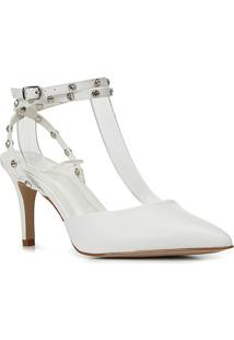 Scarpin Couro Shoestock Bride Rebite Strass Salto Alto - Feminino-Branco