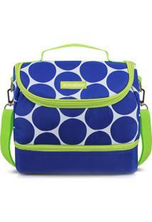 Bolsa Térmica Poá Com Bolso- Azul & Verde- 19,5X23X1Jacki Design