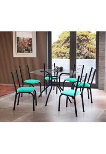 Conjunto De Mesa De Cozinha Com 6 Cadeiras Vick Couro Sintético Verde