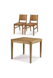 Conjunto Salvador Mesa Jantar 90Cm Tampo Madeira + 2 Cadeiras Assento Madeira - 60510 Preto