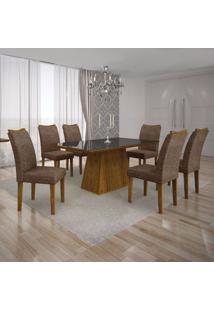 Conjunto Sala De Jantar Mesa Tampo Mdf/Vidro Preto E 6 Cadeiras Pampulha Leifer Canela/Linho Marrom