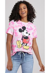 Blusa Feminina Mickey Estampada Tie Dye Manga Curta Decote Redondo Pink