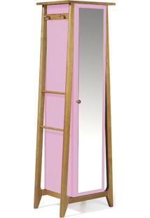 Sapateira Stoka Com Espelho Nogal E Rosa Cristal