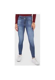 Calça Jeans Malwee Skinny Estonada Azul
