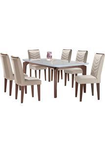 Conjunto De Mesa Para Sala De Jantar Tampo De Vidro Com 6 Cadeiras Mel-Rufato - Veludo Creme / Off White / Café
