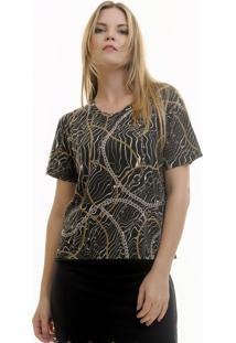 Camiseta Aura Correntes Estampada Preto