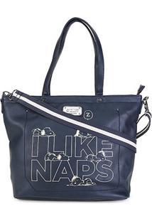 Bolsa Snoopy Shopper Bag Média Feminina - Feminino-Azul