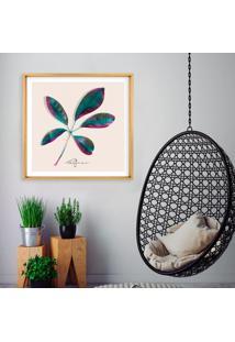 Quadro Com Moldura Chanfrada ĜOjo All Leafman Madeira Clara - 90X90 - Multicolorido - Dafiti