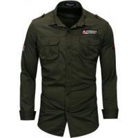 b6ec5059b24d5 Camisa Masculina Casual Air Bolso Duplo Abotoado Manga Longa - Verde  Exército
