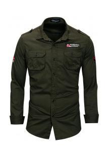 Camisa Masculina Casual Air Bolso Duplo Abotoado Manga Longa - Verde Exército