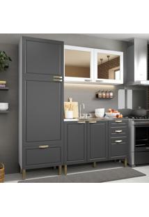 Cozinha Completa 3 Peças Americana Multimóveis 5903 Branco/Grafite