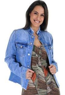 Jaqueta Jeans Lisa Com Lapelas Nos Bolsos Frontais E Acabamento Puído Aha Feminina - Feminino-Azul