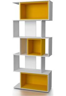 Estante Livreiro Com Nichos Quadra Branco/Amarelo - Fit Mobel