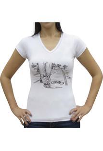Camiseta Baby Look Casual Sport Caminhada Branca