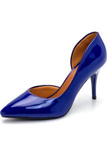 Sapato Scarpin Salto Médio Verniz Gisela Costa Azul - Kanui