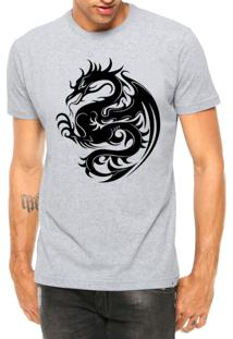 Camiseta Criativa Urbana Dragão Tribal Tattoo Cinza Mescla Manga Curta