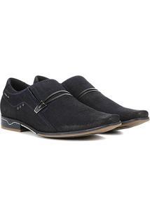 Sapato Social Couro Pegada Fivela Masculino - Masculino-Marinho