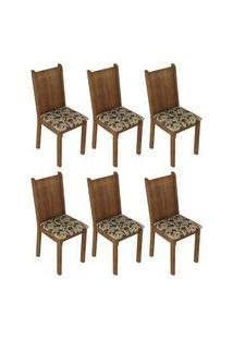 Kit 6 Cadeiras 4290 Madesa Rustic/Bege Marrom Cor:Rustic/Bege Marrom