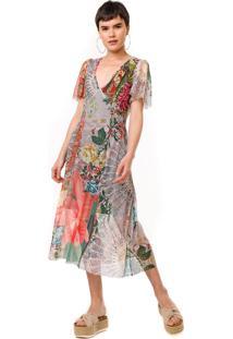 Vestido Desigual Midi Tule Daria Bege/Laranja