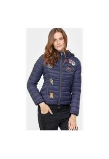 Jaqueta Facinelli Puffer Patches Capuz Azul