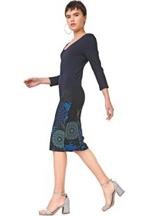 Vestido Desigual Midi Florência Azul-Marinho - Kanui