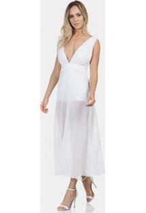 Vestido Mídi Forro Hot Pant Tecido Branco Off White - Lez A Lez