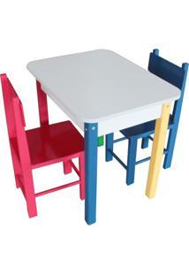 Mesa Retangular Com Cadeiras - Vermelha & Azul Escuro