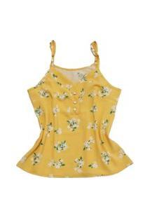 Blusa Alcinha Detalhe Botões Laranja Com Flores
