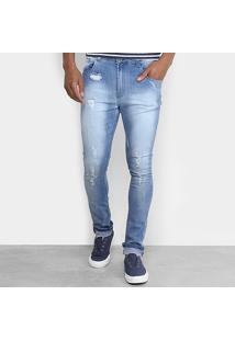 Calça Jeans Skinny Handbook Estonada Puídos Lazaro Masculina - Masculino