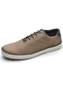 Sapatênis Couro Top Franca Shoes Masculino - Masculino-Marrom Claro