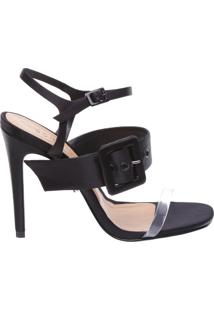 Sandália Big Belt Satin Black | Schutz