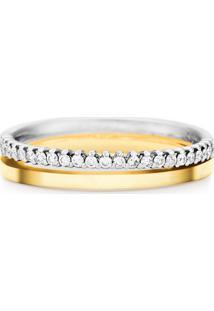Aliança De Casamento Ouro Amarelo E Branco Com Diamantes (3.6Mm)