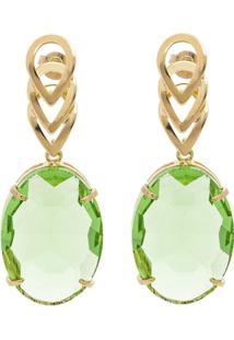 Brinco Banho De Ouro Cristallo Oval Cristal - Feminino-Verde