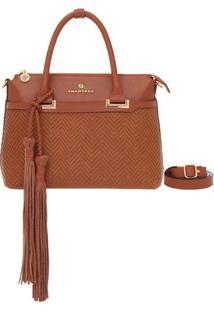 Bolsa Smart Bag Couro Tressê Tribal - Feminino-Caramelo