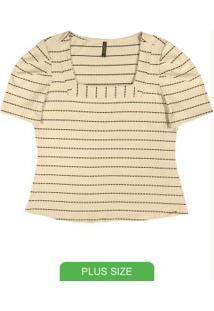 Blusa Decote Quadrado Listrada Bege