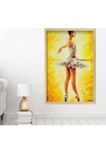 Quadro Love Decor Com Moldura Ballet Madeira Clara Mã©Dio - Multicolorido - Dafiti