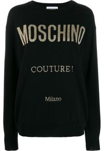 Moschino Suéter Com Logo E Glitter - Preto