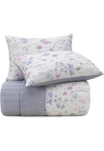 Colcha Solteiro Altenburg Malha In Cotton 100% Algodão Soft Flower - Branco Roxo