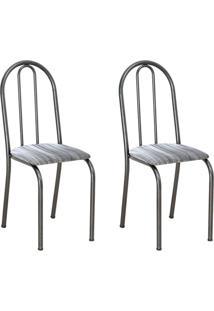 Conjunto 2 Cadeiras Éos Cromo Preto E Linho