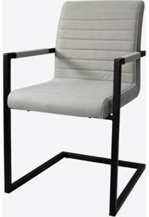 Cadeira Ferrara Cinza Claro Com Braco Base Aco Preta - 59513 - Sun House