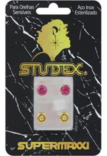 Brinco Studex Supermaxxi Dourado Pedra Rosé 1 Par