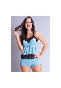 Pijama Curto Bravaa Modas Adulto Feminino Baby Doll Estampado Renda 069 Azul