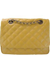 Bolsa Crisfael Acessórios Em Couro Amarelo - Tricae